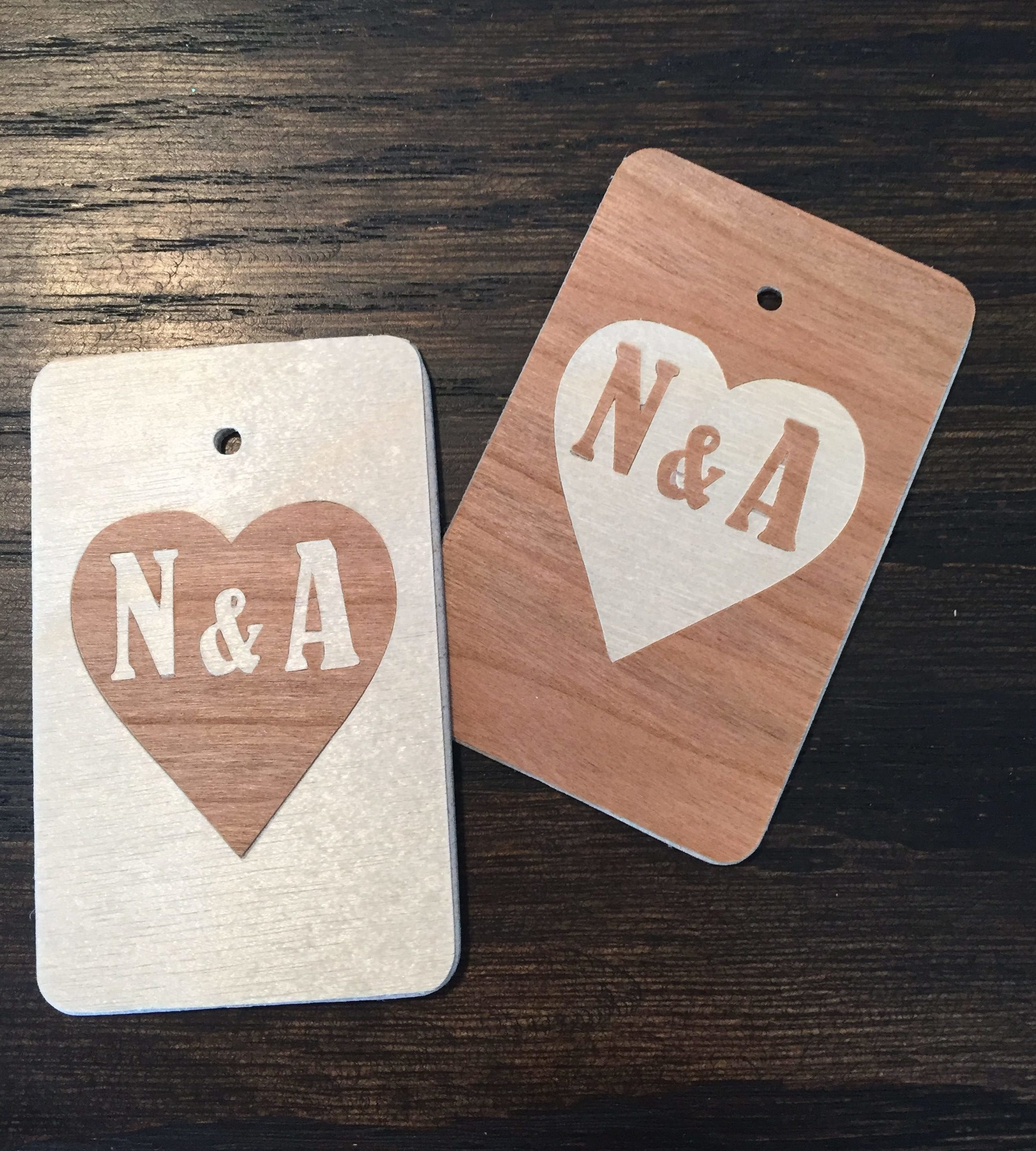 inlaid wood tag