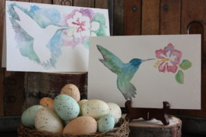silhouette watercolor stencil