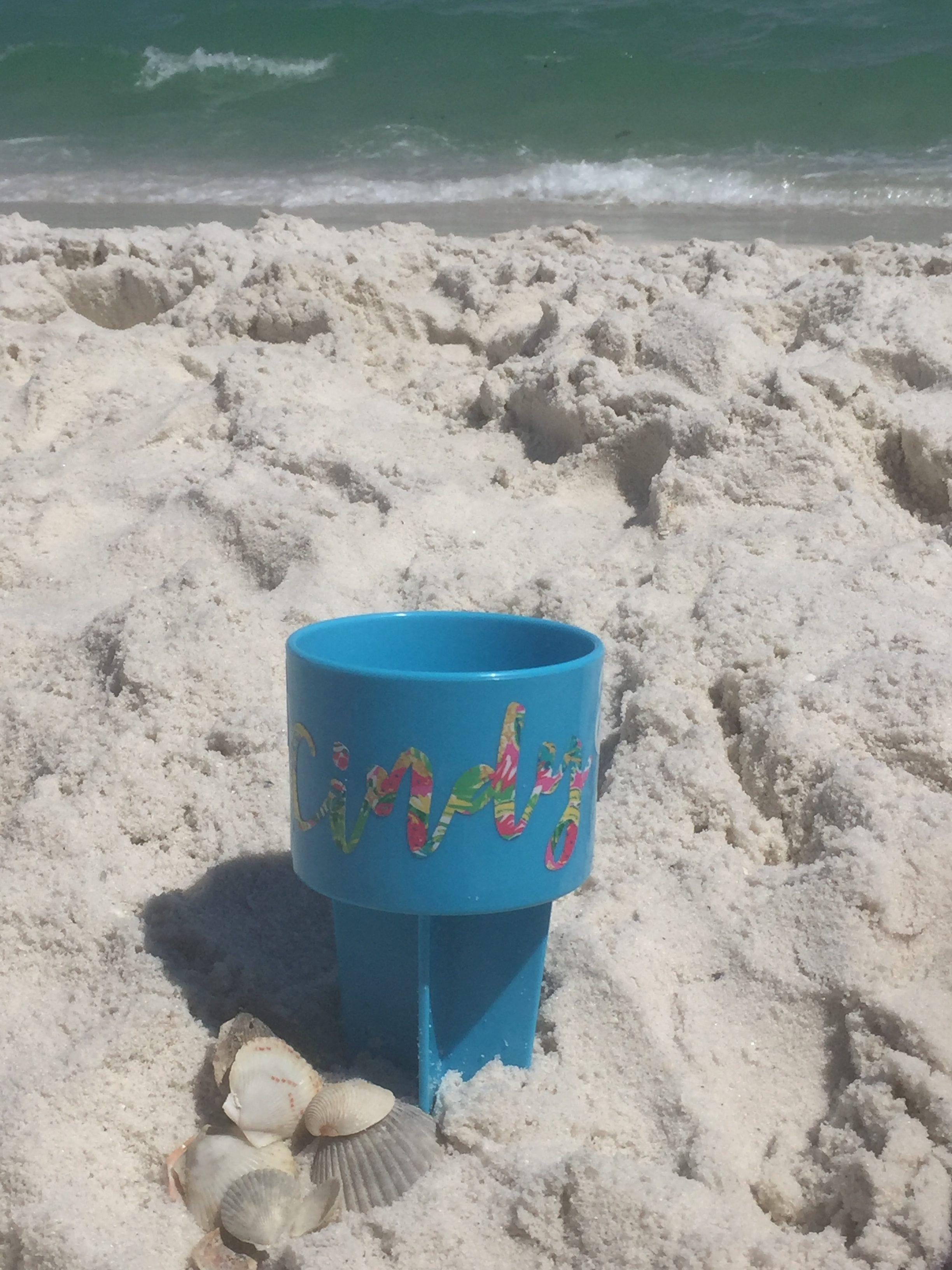 sparkleberry patterned vinyl on beach cup
