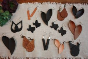 stocking stuffer leather earrings with silhouette