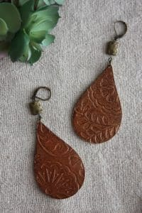 embossed leather earrings silhouette diy tutorial