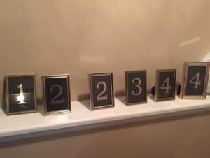 table numbers in frames