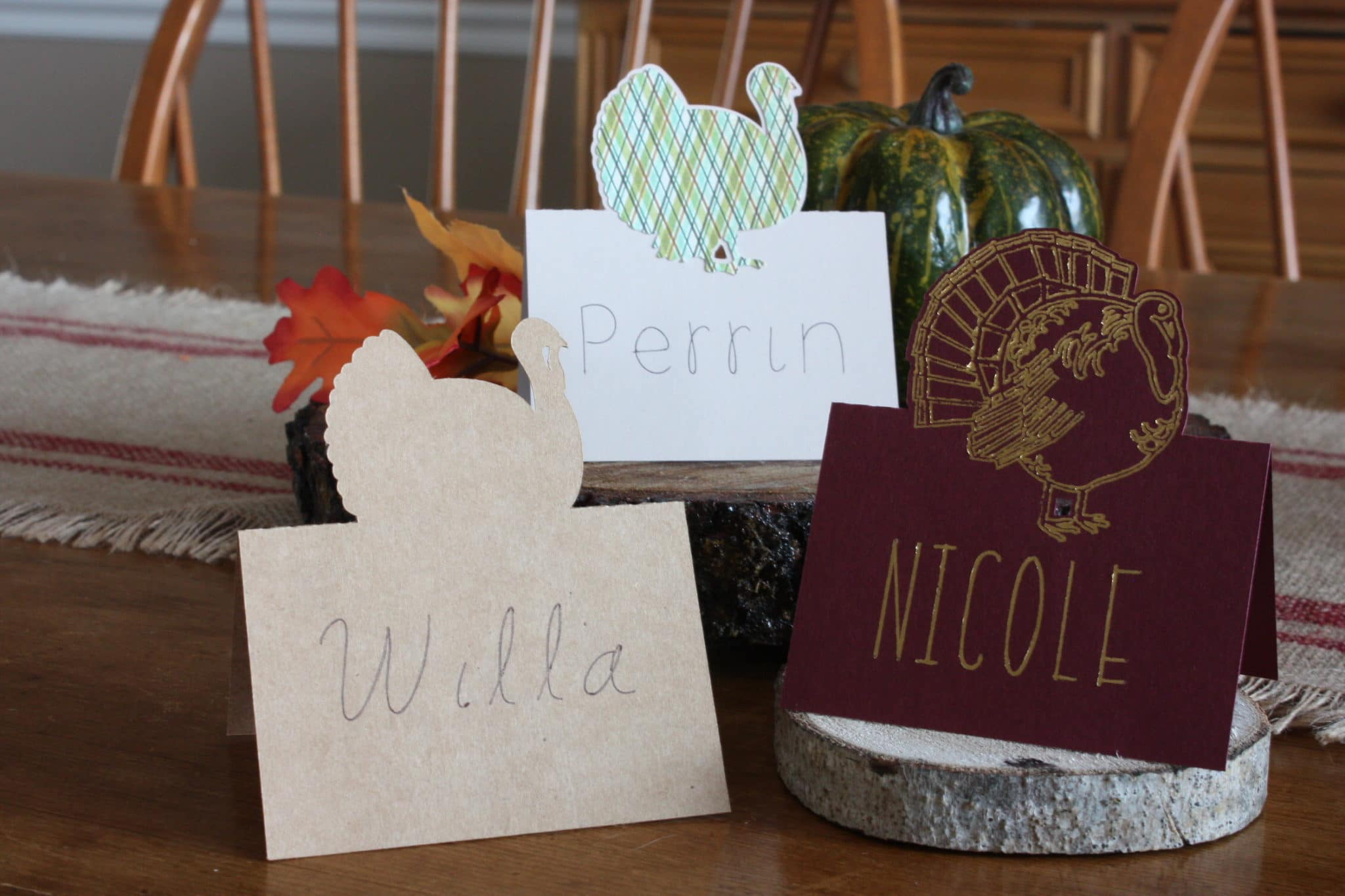 thanksgiving place cards silhouette cameo
