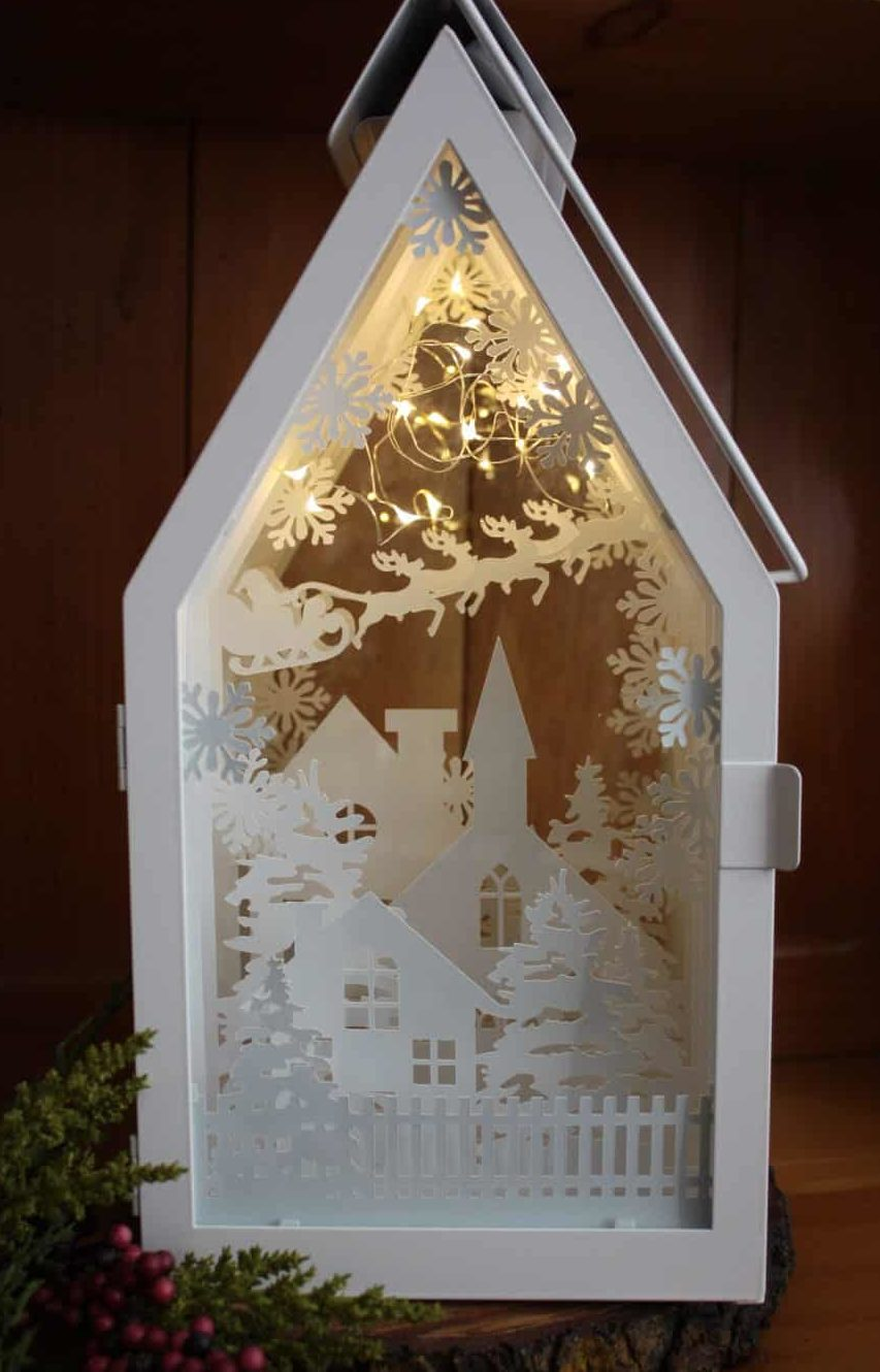 ikea sommar lantern shadow box silhouette Cameo cardstock lights