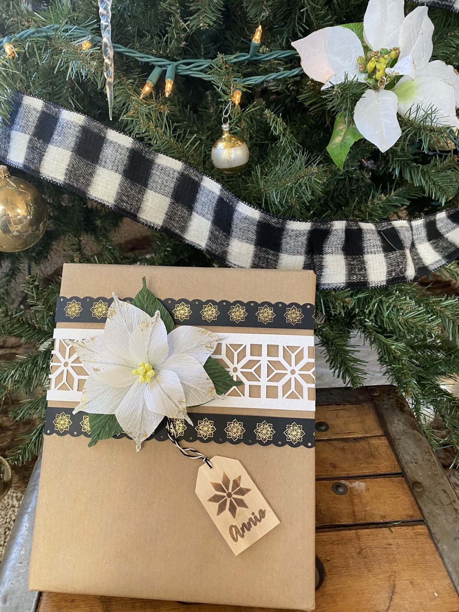 custom gift wrap and tag