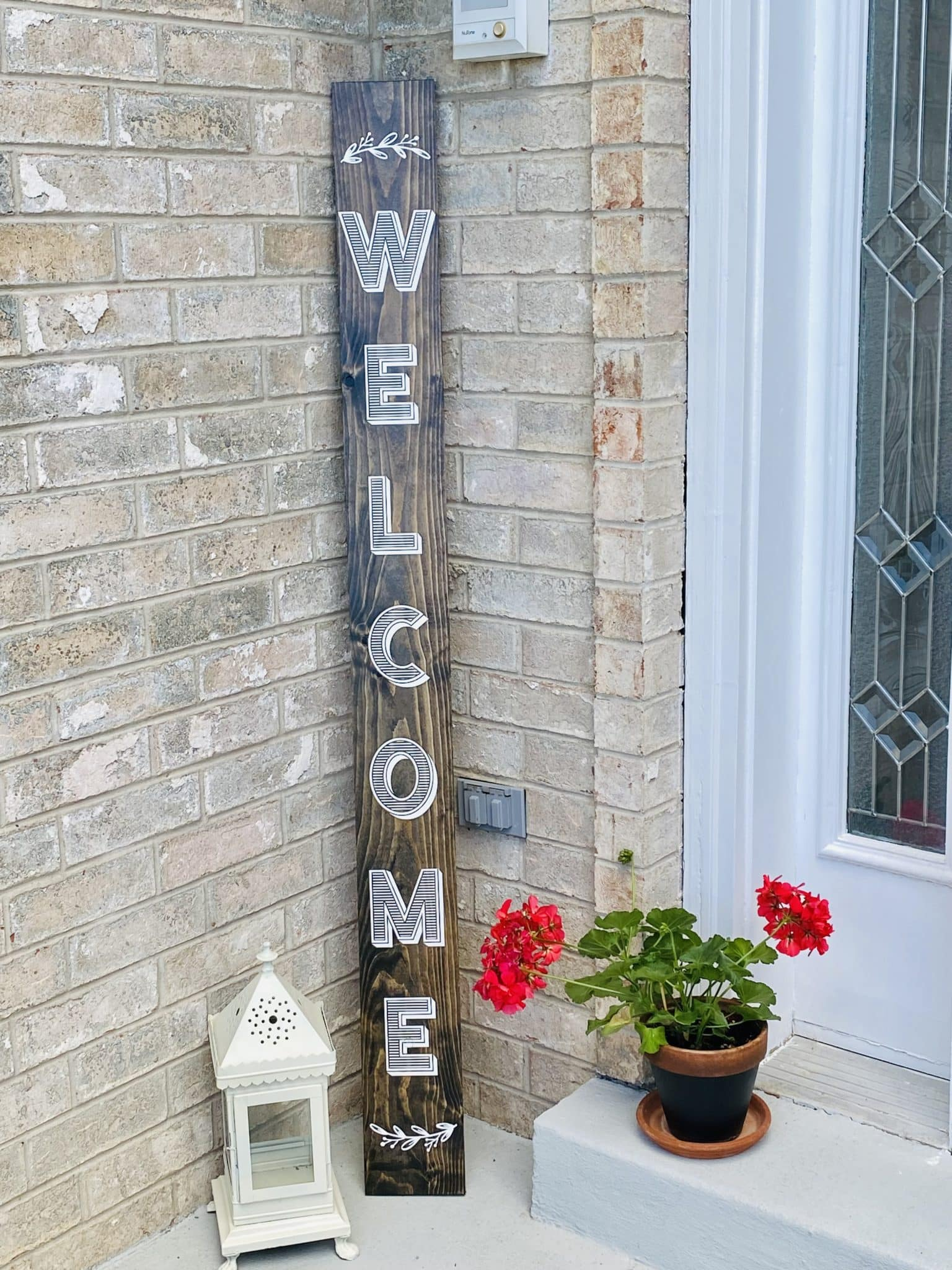 contact paper stenciled porch sign